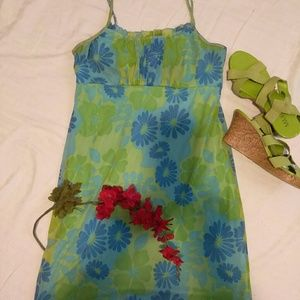 Beautiful lime green and blue summer dress